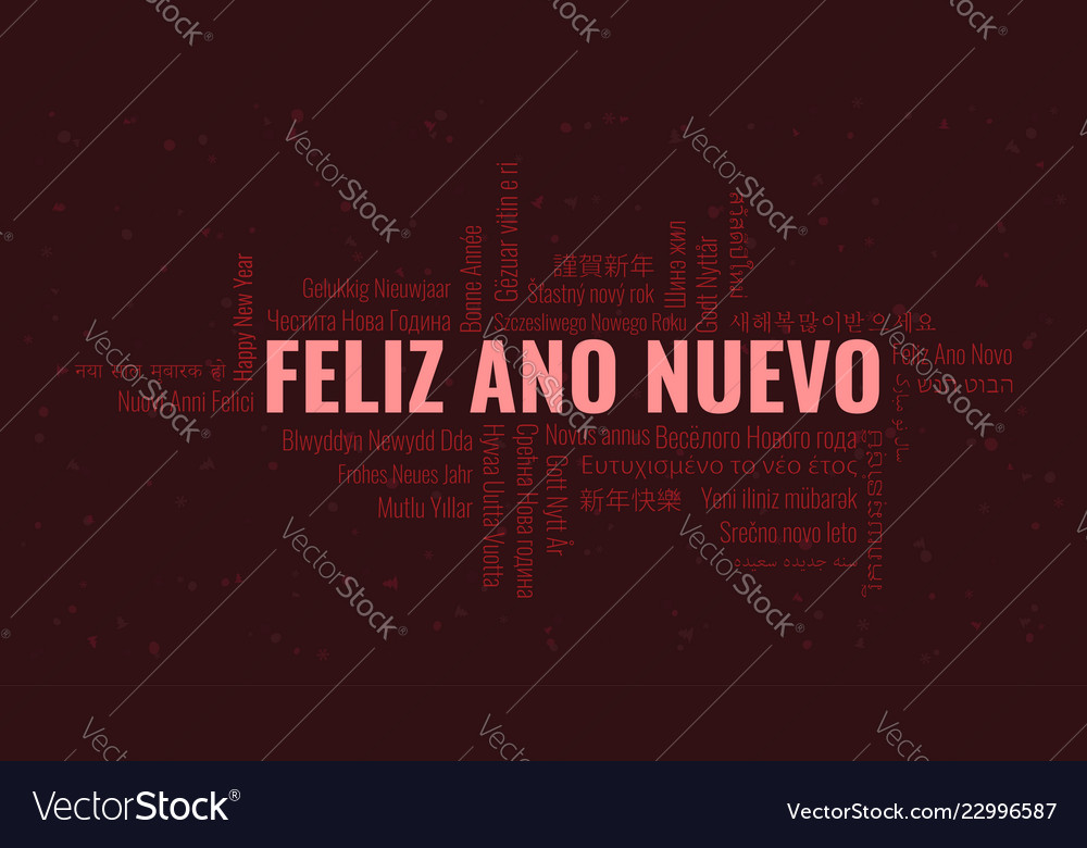 happy new year text in spanish feliz ano nuevo vector image