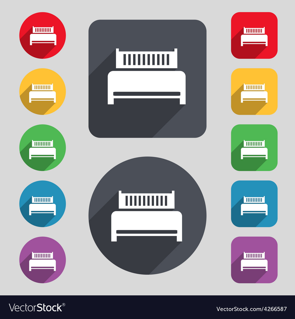 Hotel bed icon sign A set of 12 colored buttons vector image