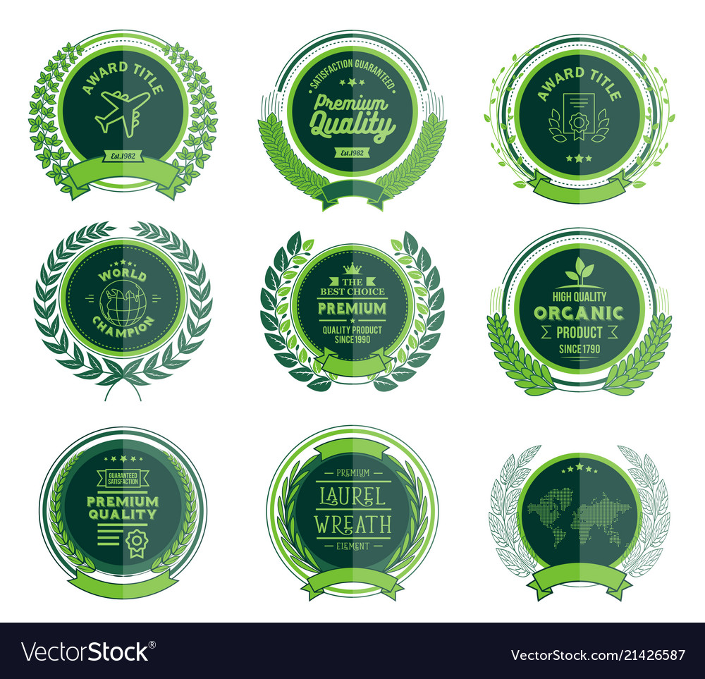 Luxury green circular laurel wreath and badges