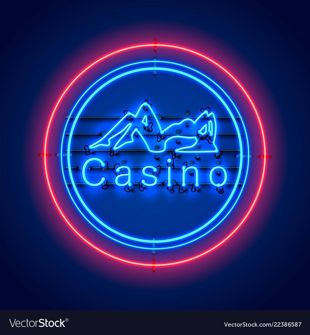 Neon casino sexy girl signboard