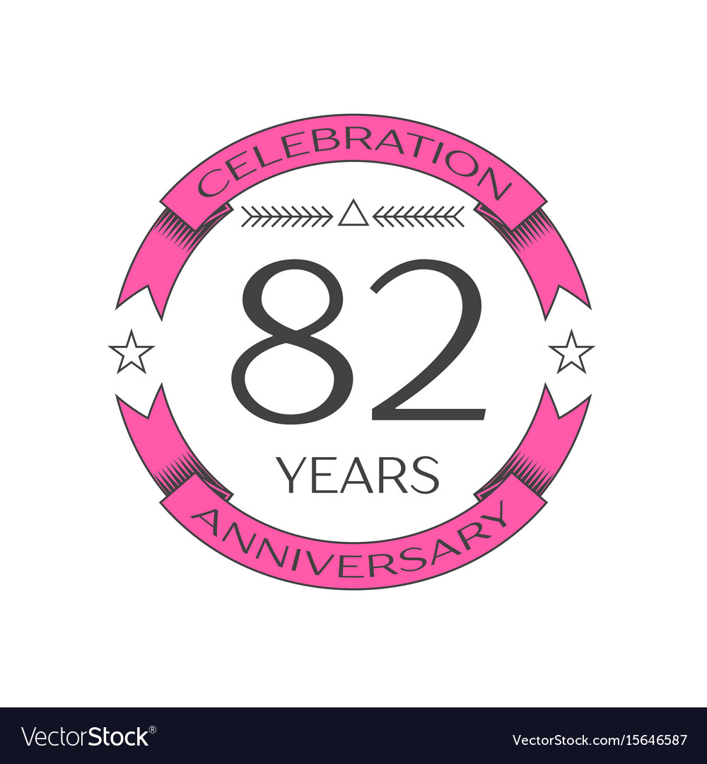 Realistic eighty two years anniversary celebration vector image