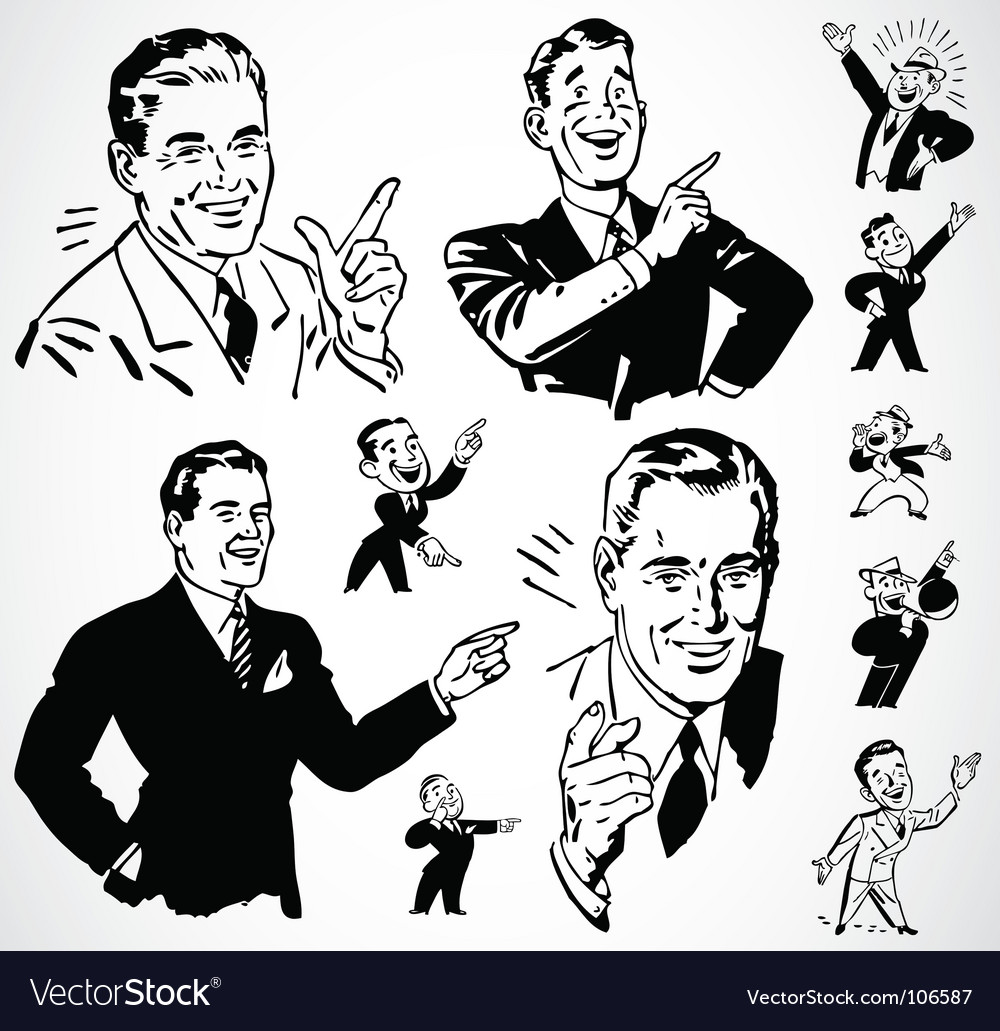 Retro men pointing vector image