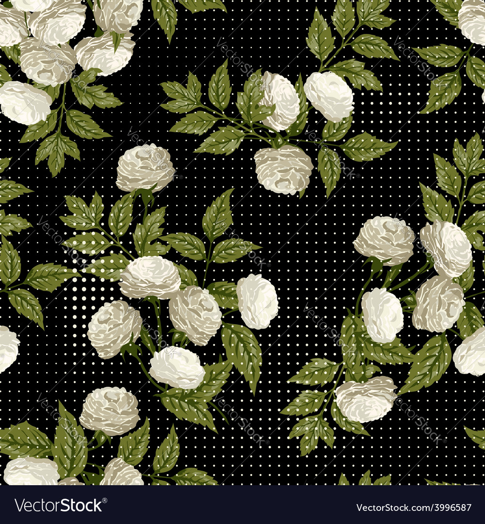 Seamless floral pattern with white roses on black