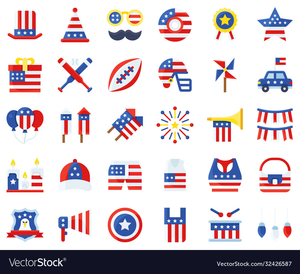 United state independence day flat icon set 2