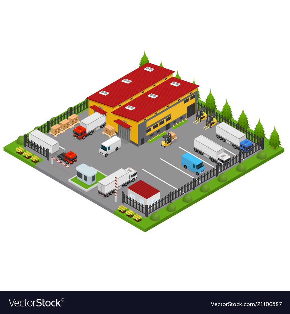 Warehouse concept 3d isometric view