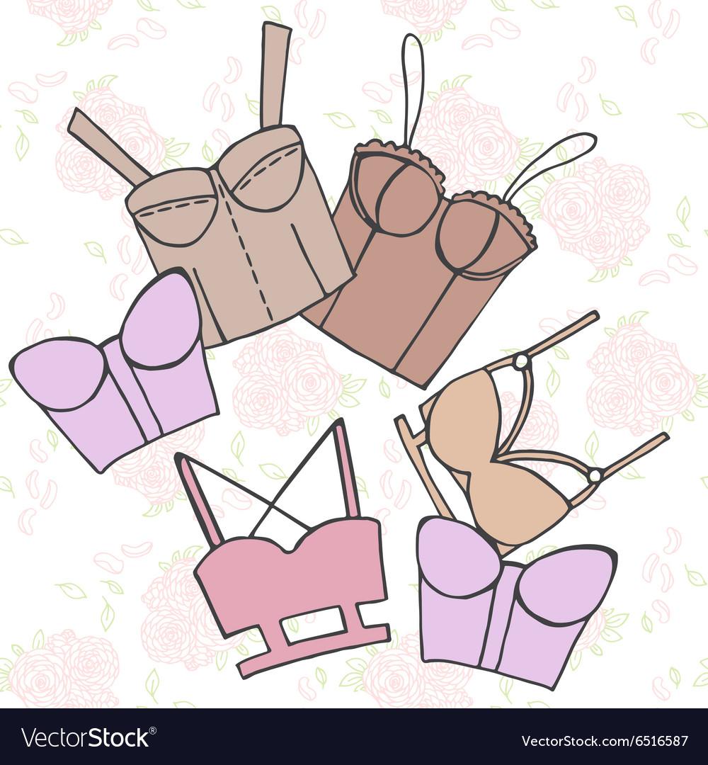 Women bra doodle underwear vintage lingerie