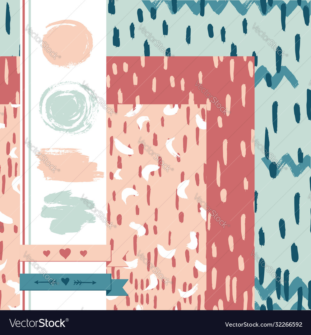 Abstract artistic seamless pattern set