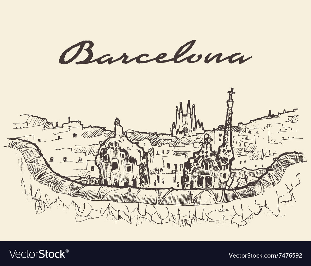 Barcelona Spain drawn sketch