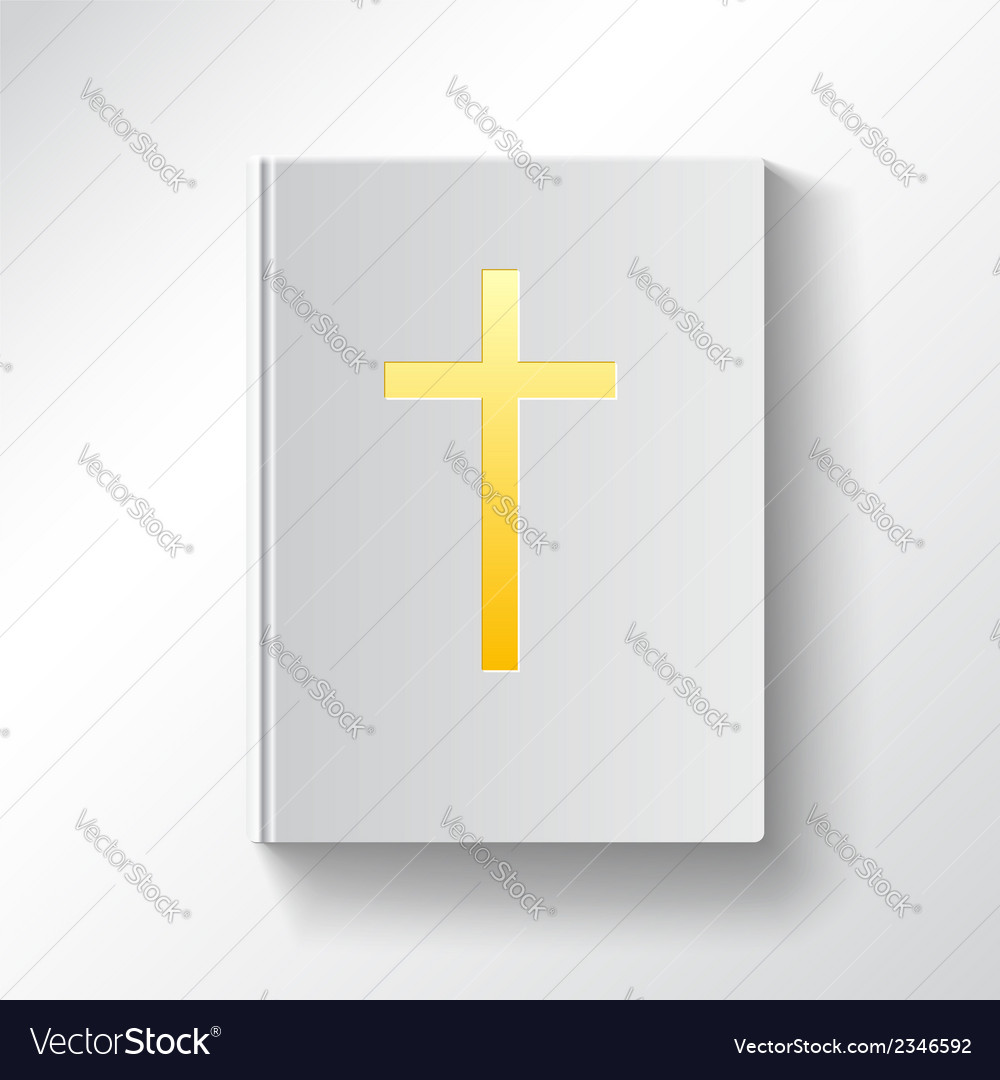 Book with a gold cross Top view