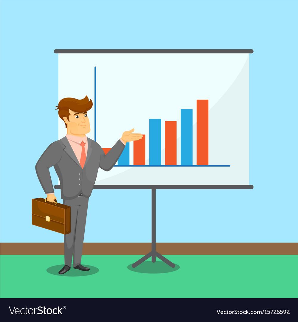 Businessman near board with financial diagram