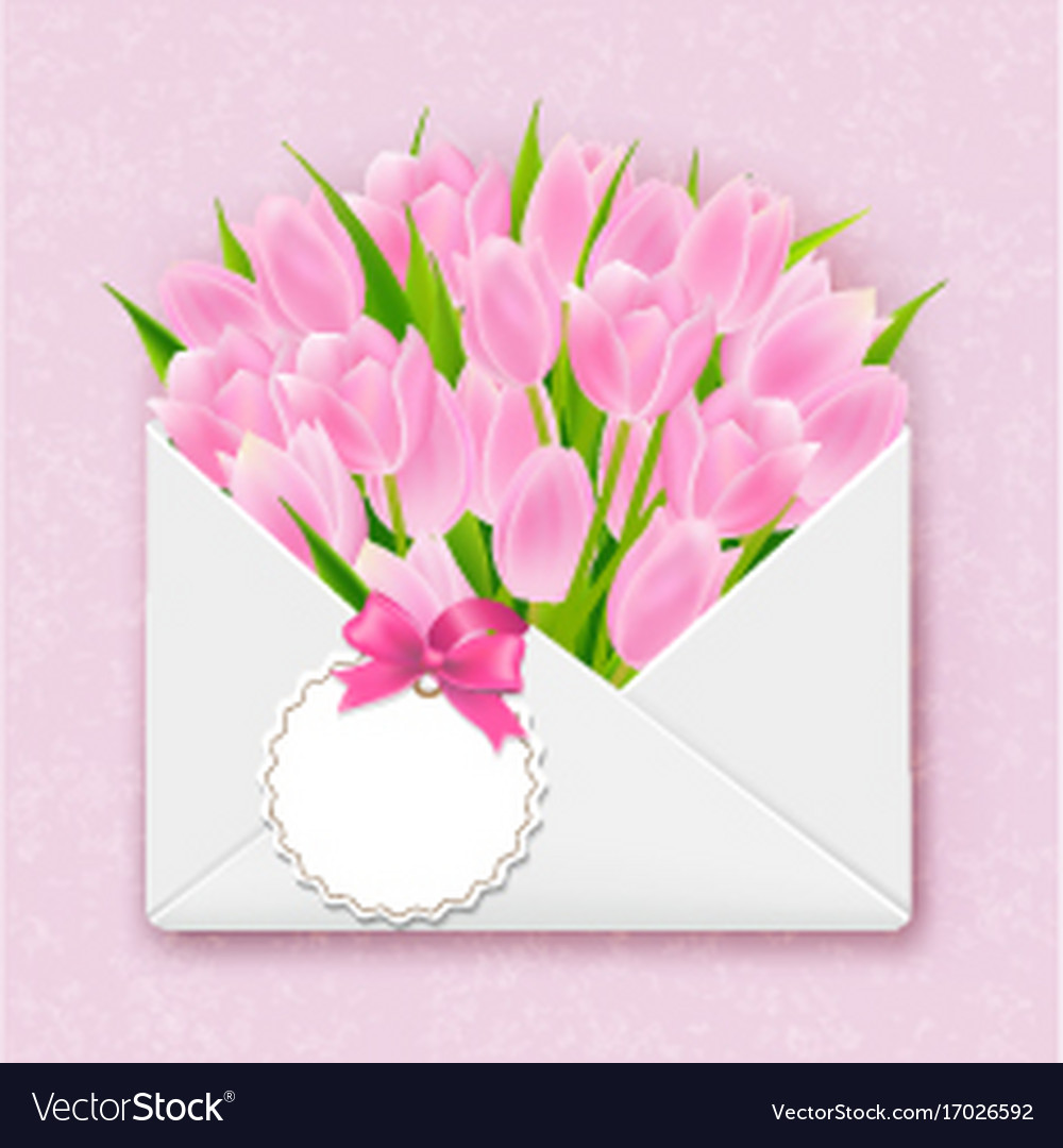 Envelope with tulips