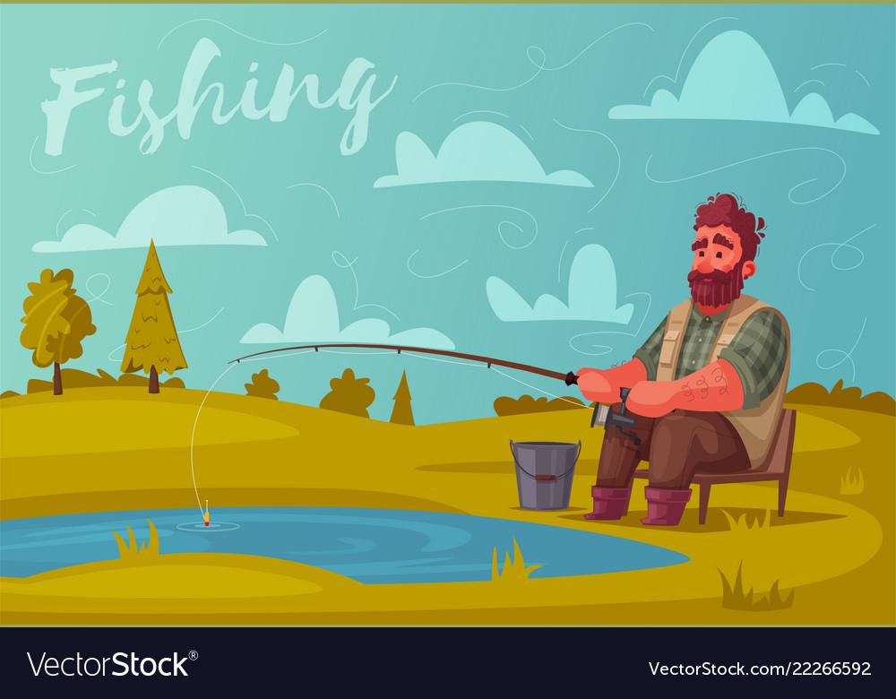 Fisherman with fishing rod