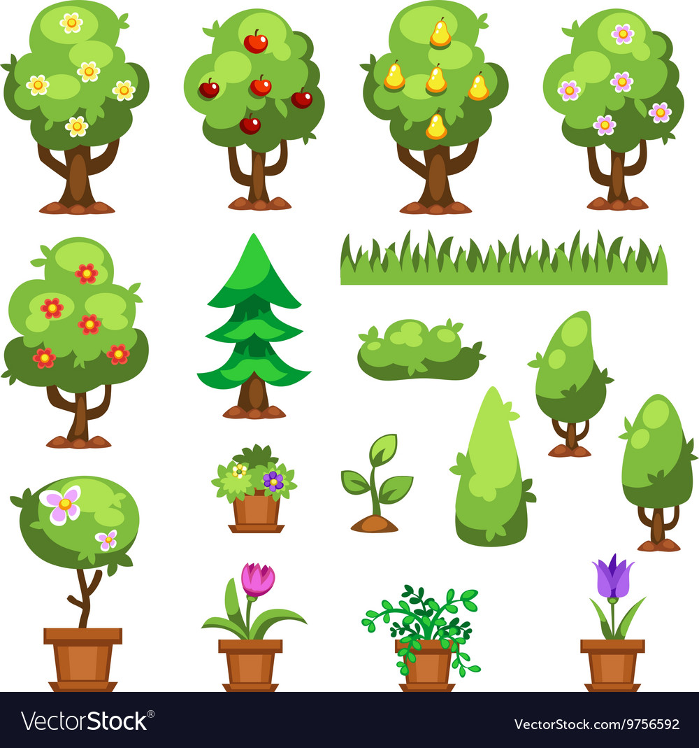 Flat nature garden flowers plants vector image