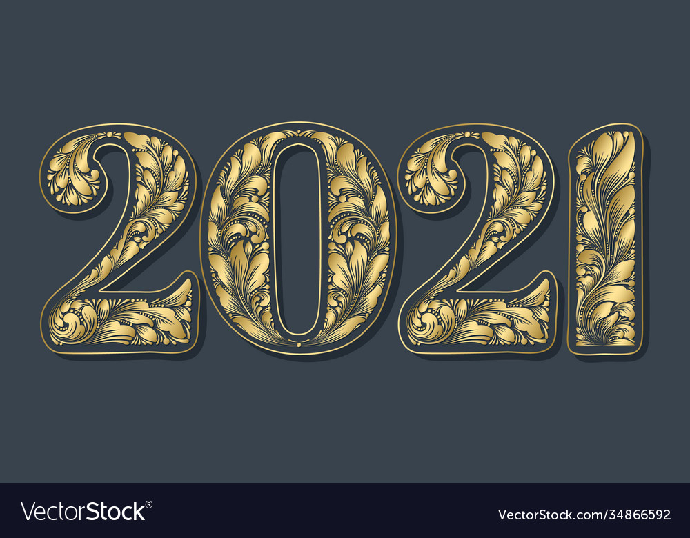 Happy new year background with 2021 sign