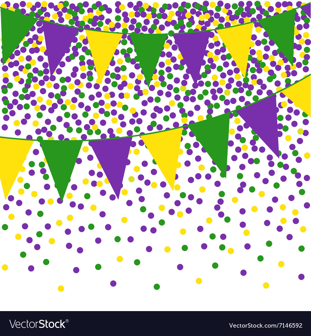 Mardi Gras bunting background with confetti