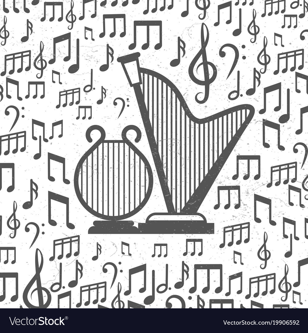 Music background with harps and notes