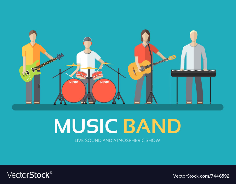 Music band in flat design background concept