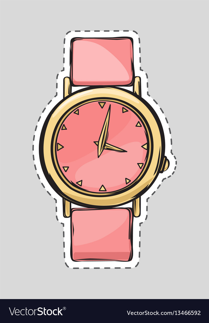 Pink watch cut it out isolated fashionable thing vector image