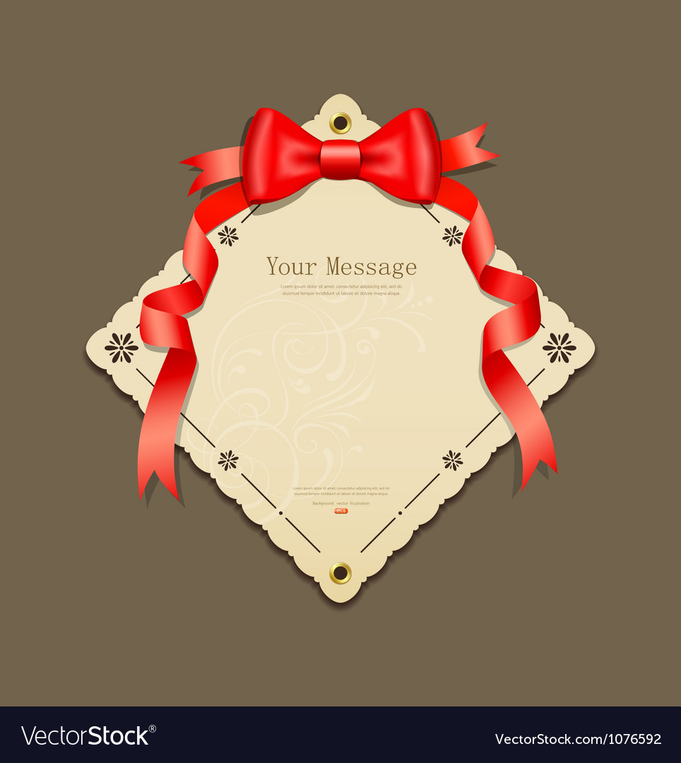 Red ribbons and paper card vector image