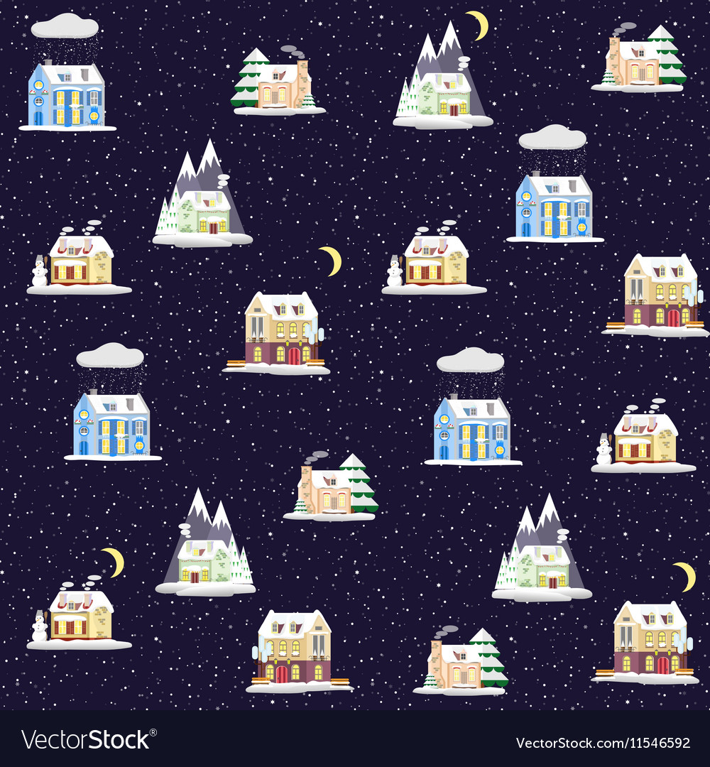 Seamless pattern with decorative colorful houses