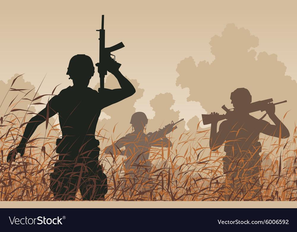 Soldier patrol vector image