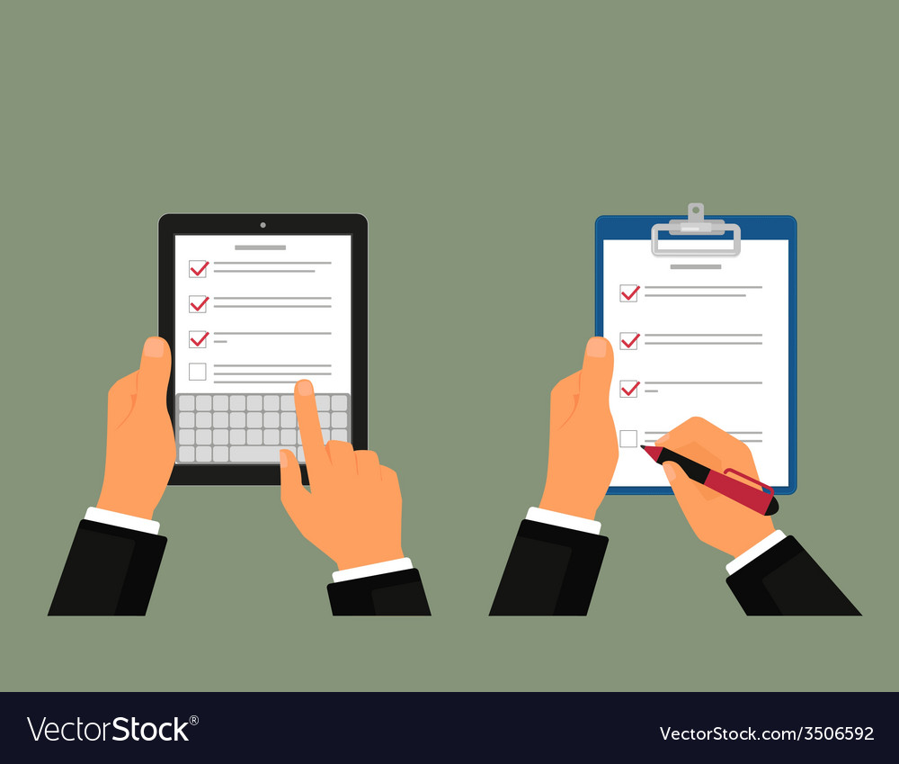 Tablet pc and notepad with task list vector image