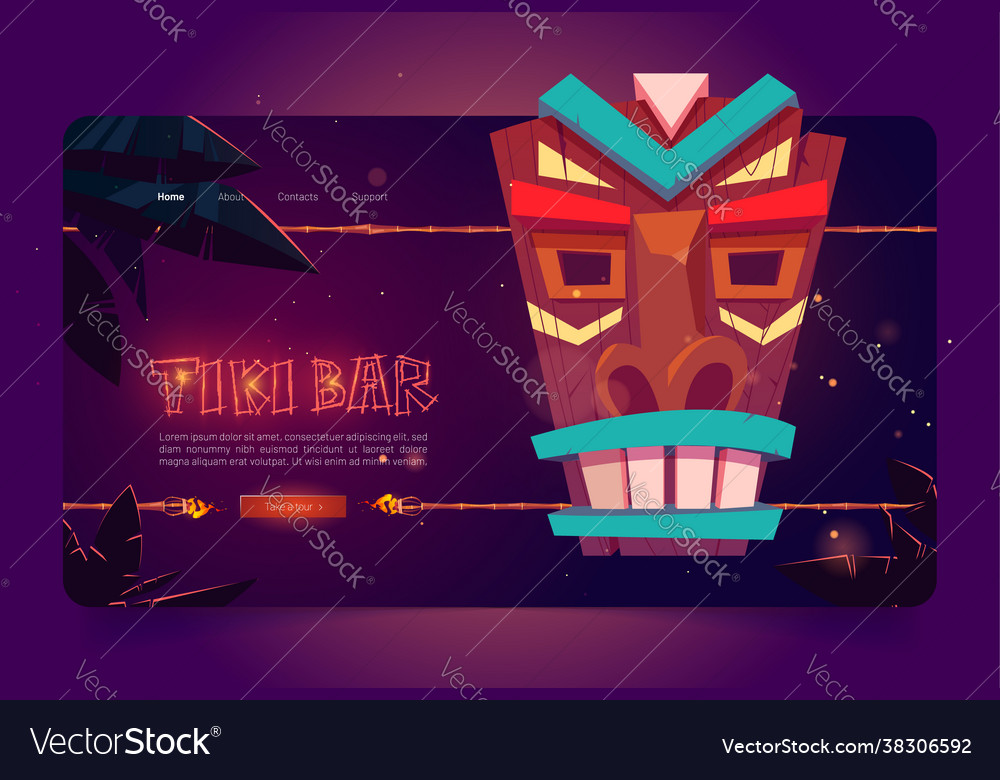 Tiki bar website with wooden tribal mask