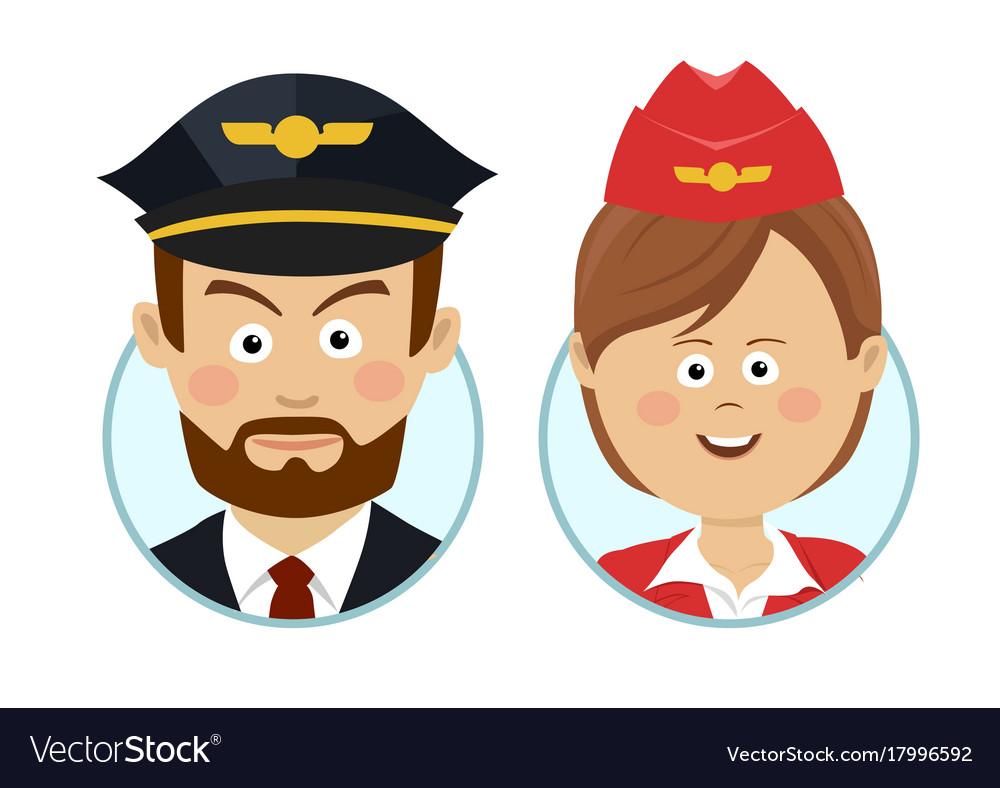 Young pilot and beautiful stewardess avatars