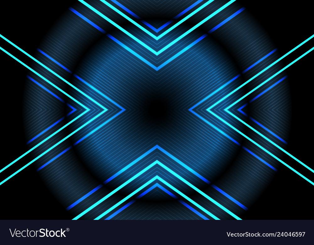 Abstract blue neon light arrow pattern on dark
