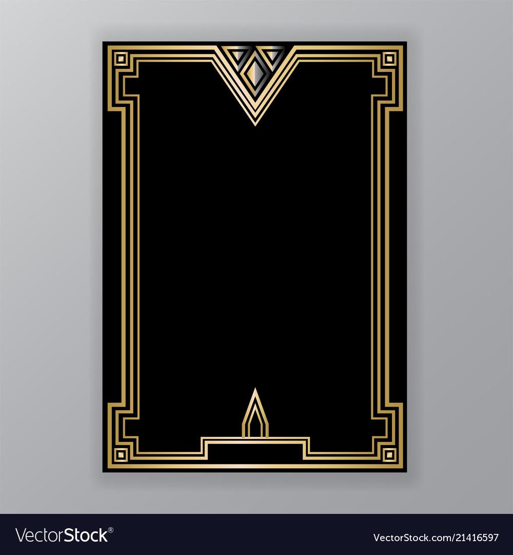 art deco template golden black a4 page menu vector image