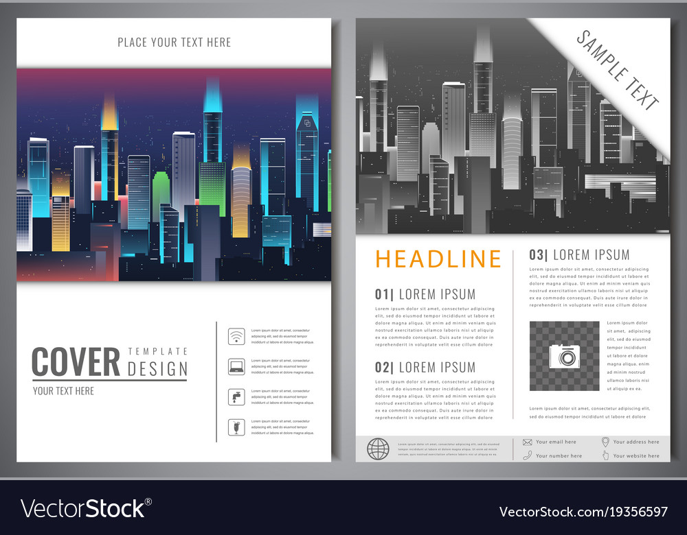 brochure design template with urban landscape vector image - Settlement Brochure Template