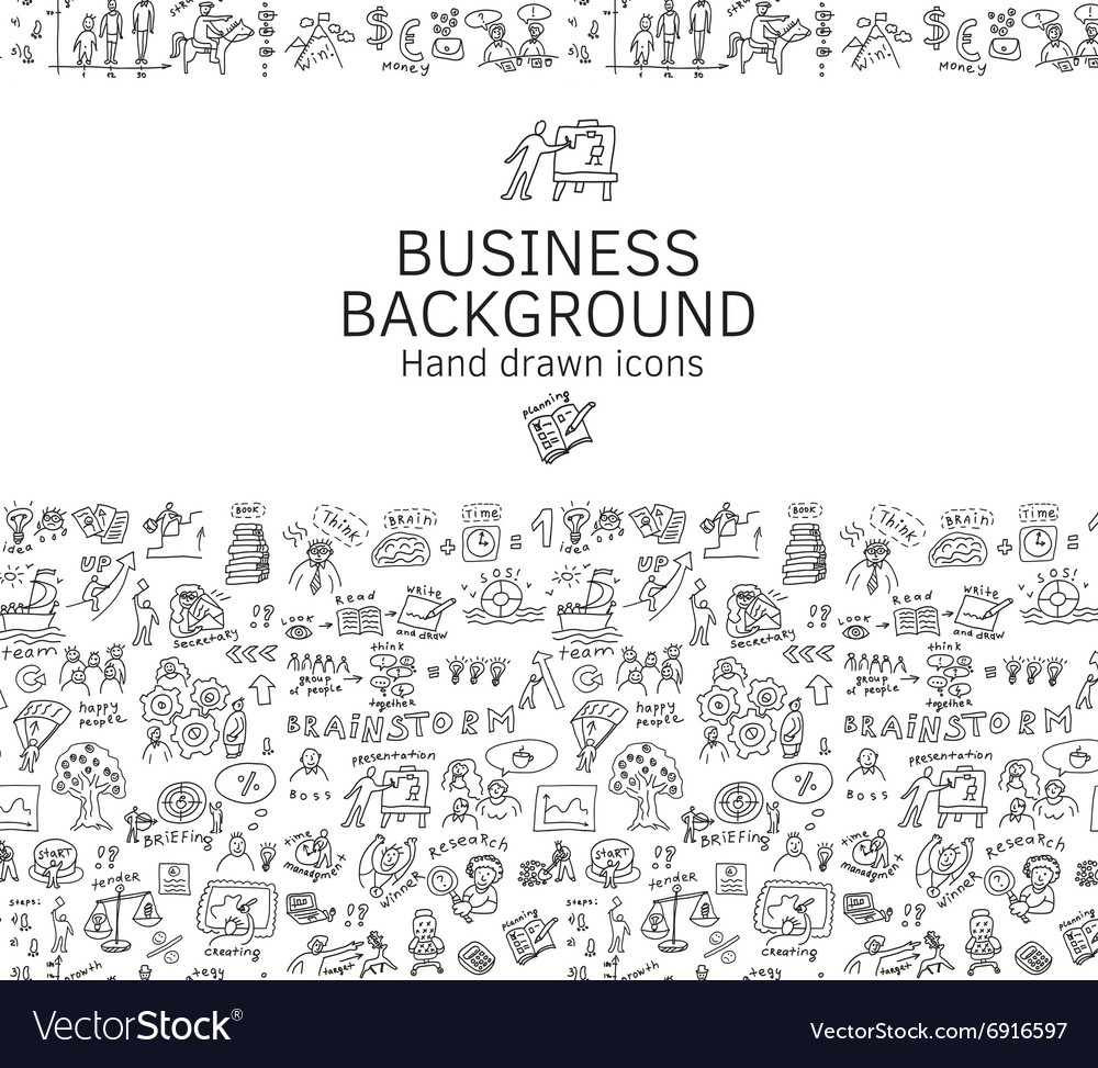 Business background doodles hand drawn black and