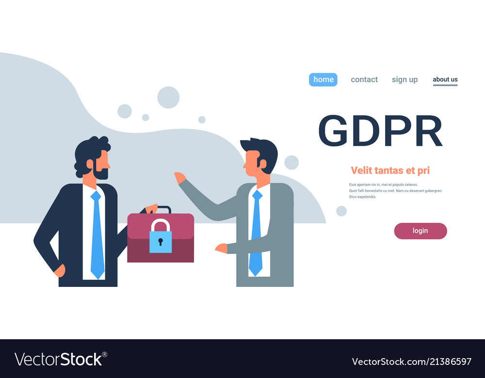 Businessman hold case padlock security gdpr