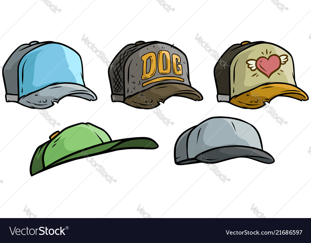 Cartoon different cap or hat icon big set
