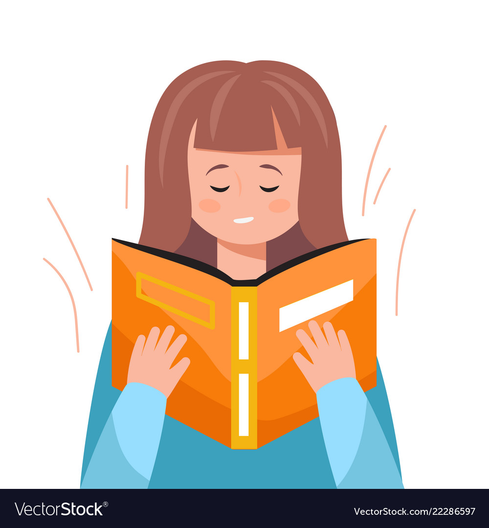 Cute woman reading a book educational concept