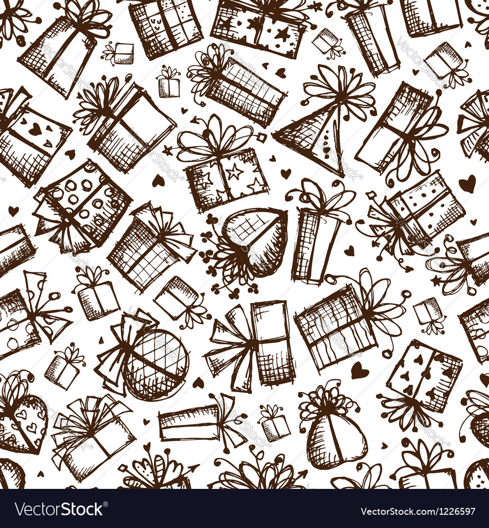 Gift boxes seamless background for your design vector image