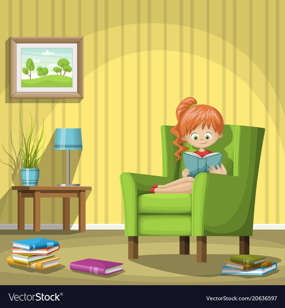 Girl Reading Books In Living Room Vector Image