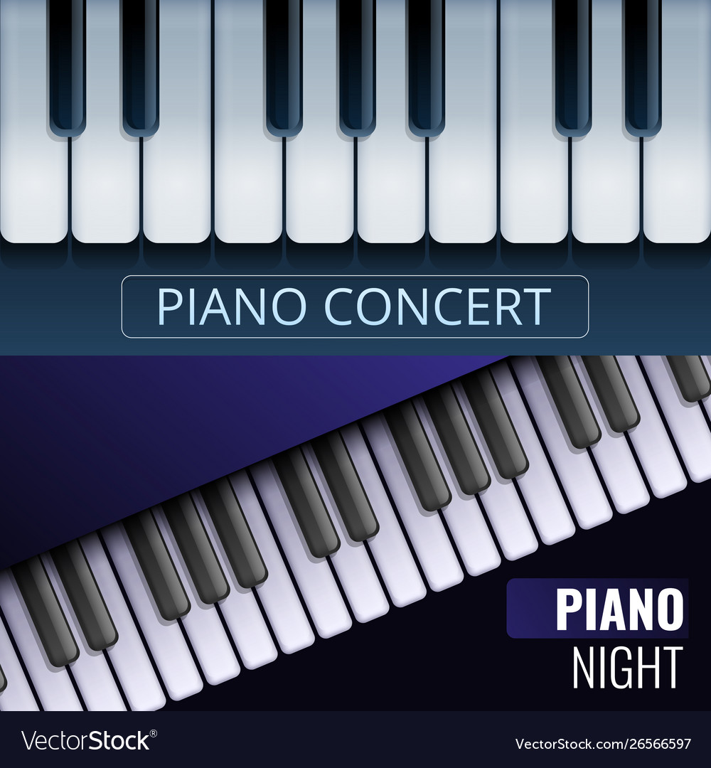 Grand Piano Banner Set Cartoon Style Royalty Free Vector