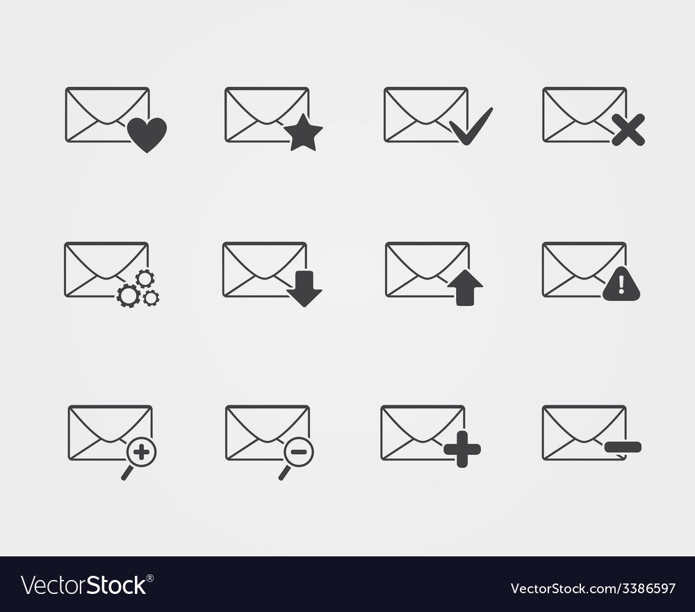 Line black Email icons set