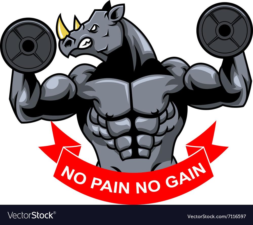 Rhino Muscle Barbel vector image