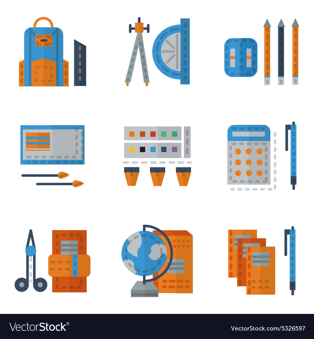 School utensils flat color icons