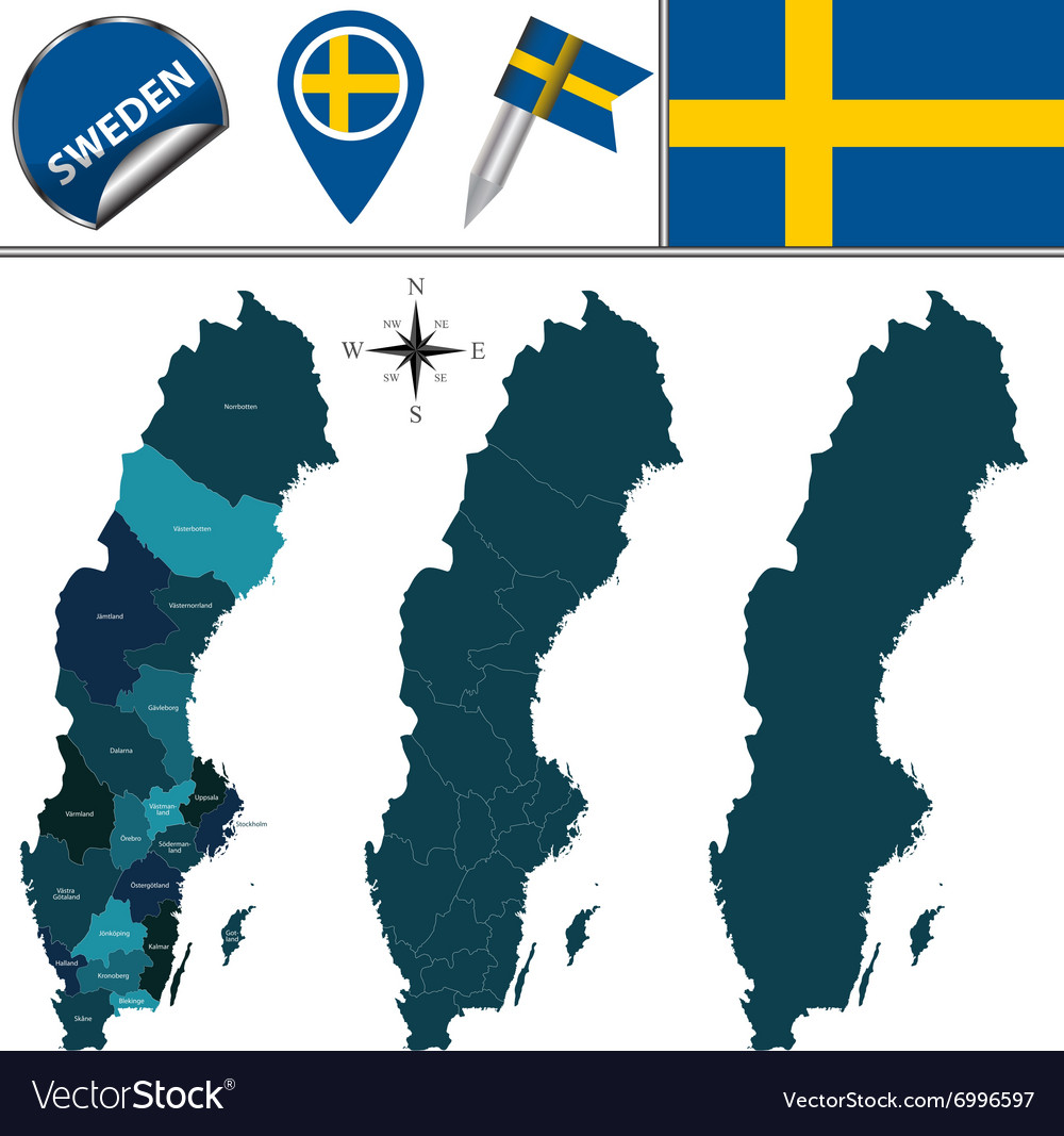 Sweden map with named divisions