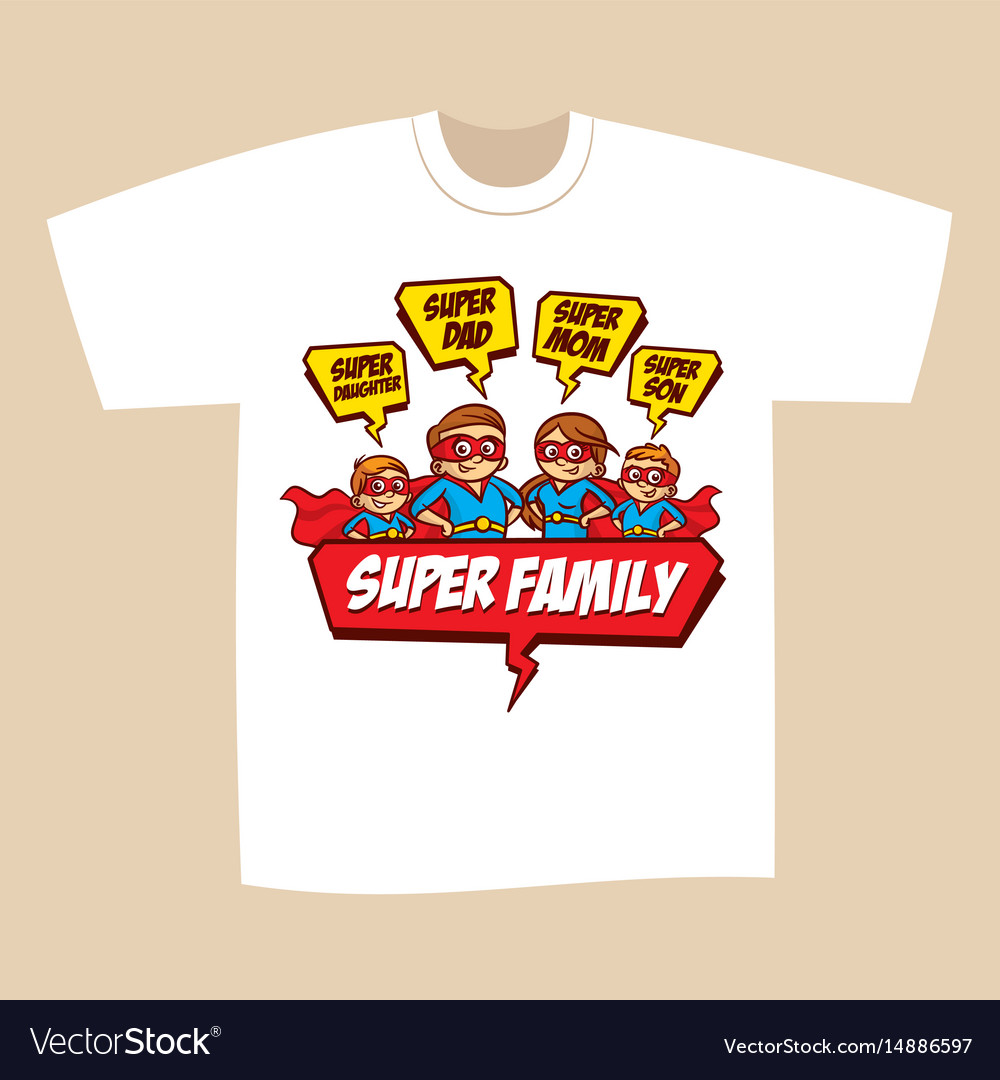 T Shirt Print Design Superheroes Family Vector Image