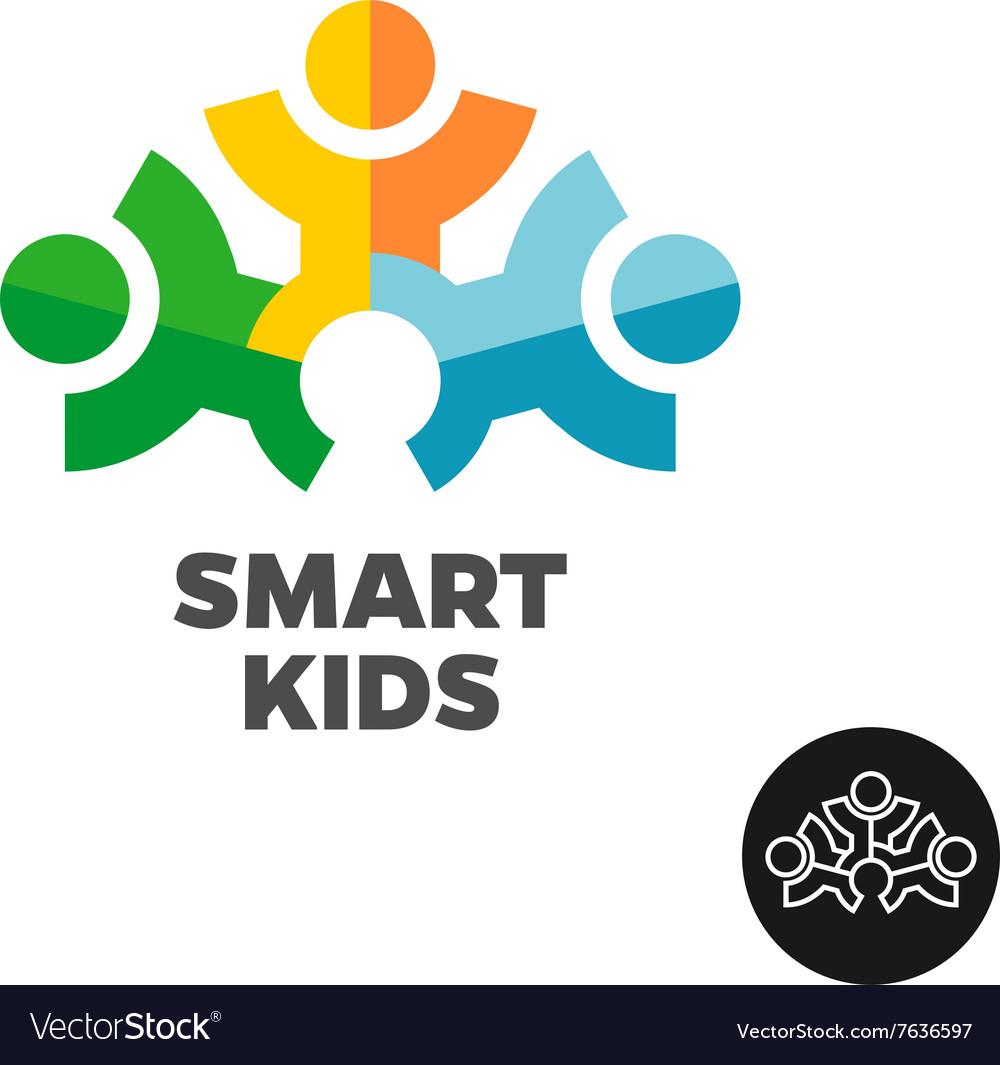 Three kids club logo concept Stylized people