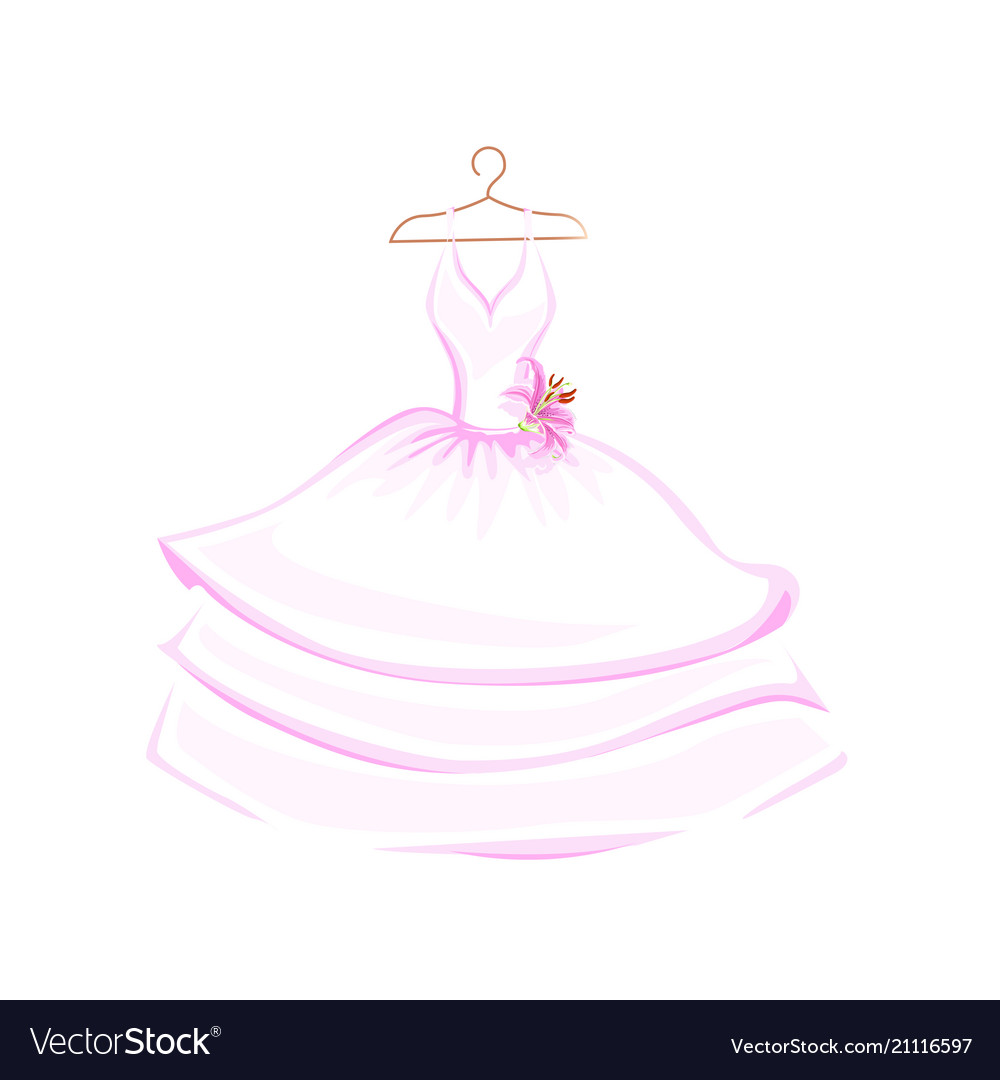 Watercolor wedding dress decorated with lily