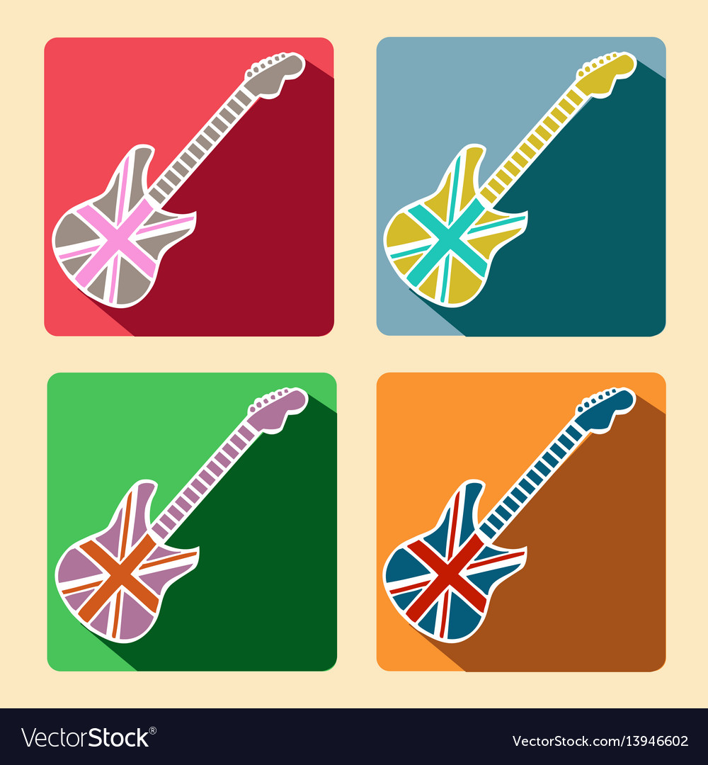 British guitar flat icons with long shadow vector image