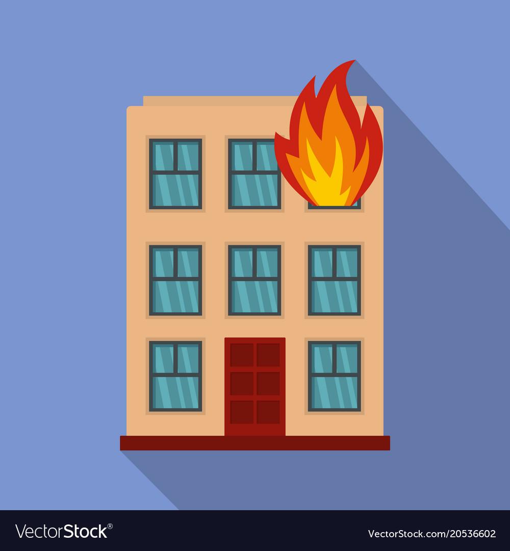 Burning house icon flat style