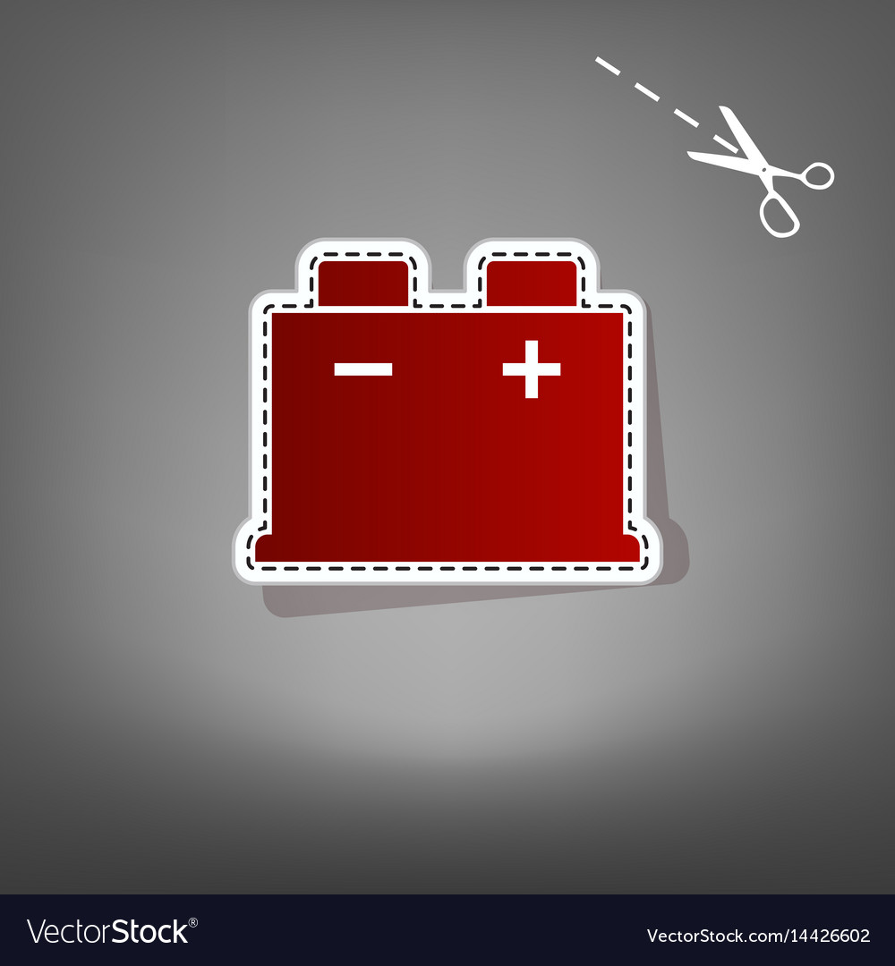 Car Battery Sign Red Icon With For Royalty Free Vector Image