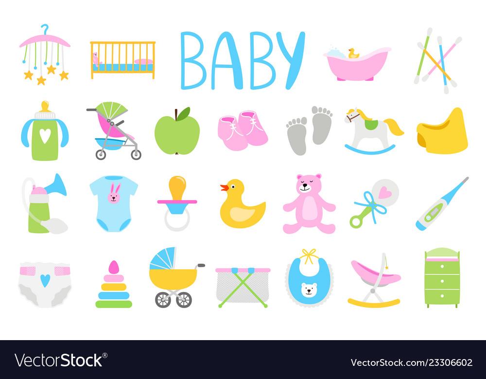 Cartoon baby icon set