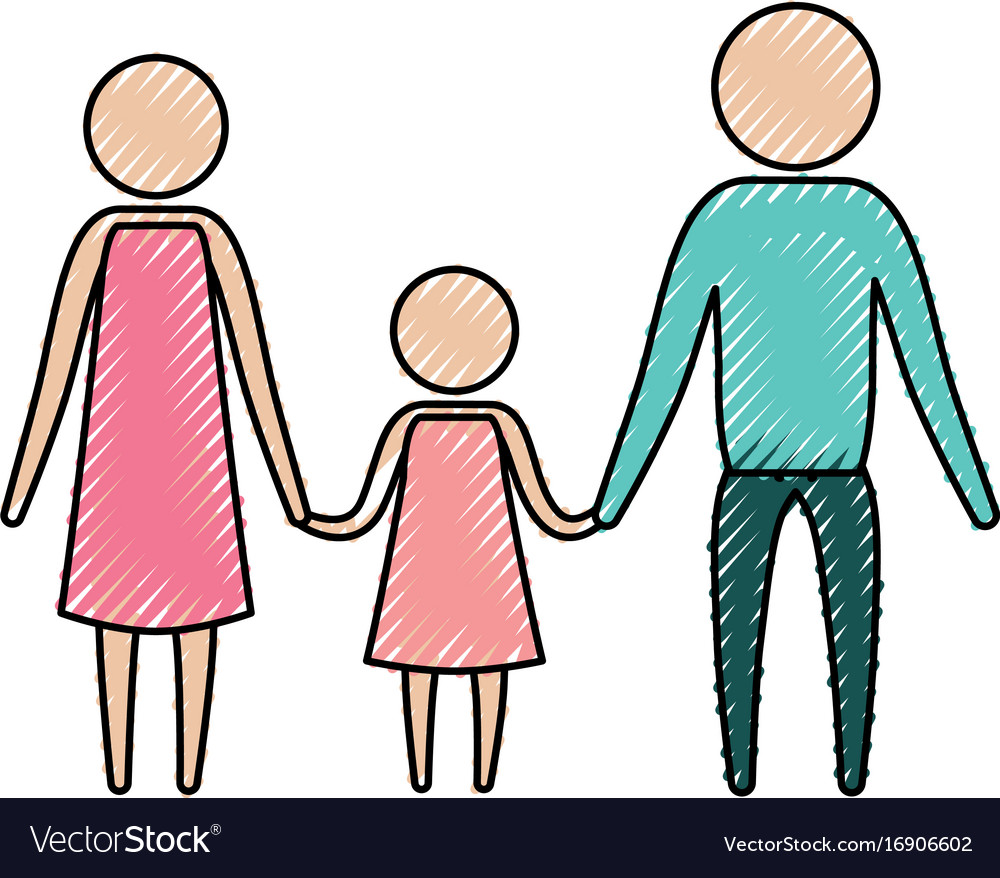 Color crayon silhouette of pictogram parents with